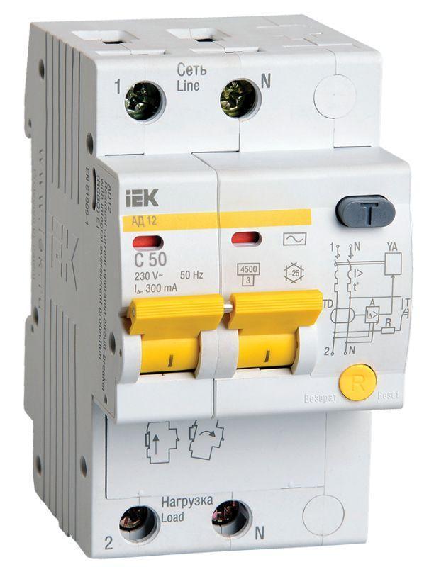 Выключатель автоматический дифференциального тока 2п C 50А 300мА тип AC 4.5кА АД-12 IEK MAD10-2-050-C-300