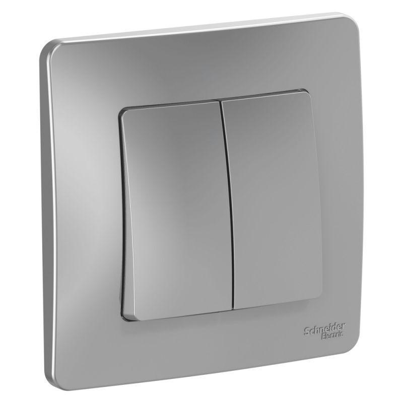 Выключатель 2-кл. СП Blanca 10А IP20 (сх. 5) 250В алюм. SchE BLNVS010503