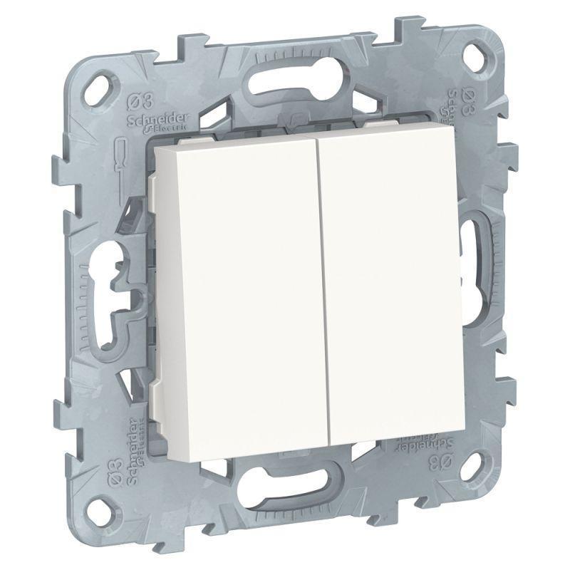 Механизм выключателя 2-кл. 2мод. СП Unica New IP21 (сх. 5) 250В 10AX бел. SchE NU521118