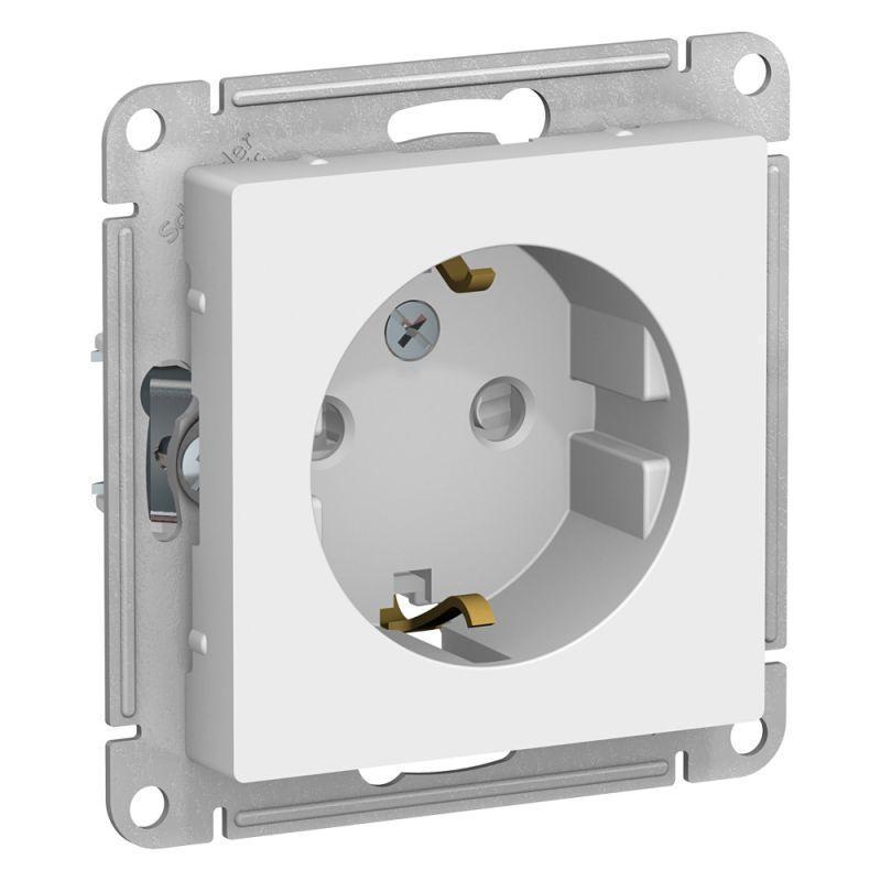 Механизм розетки 1-м СП AtlasDesign 16А IP20 с заземл. защ. шторки бел. SchE ATN000145