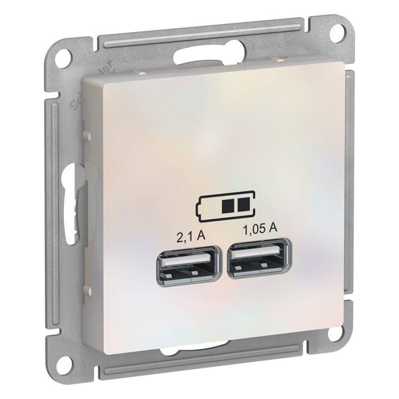 Механизм розетки USB AtlasDesign 5В 1порт х 2.1А 2порта х 1.05А жемчуж. SchE ATN000433