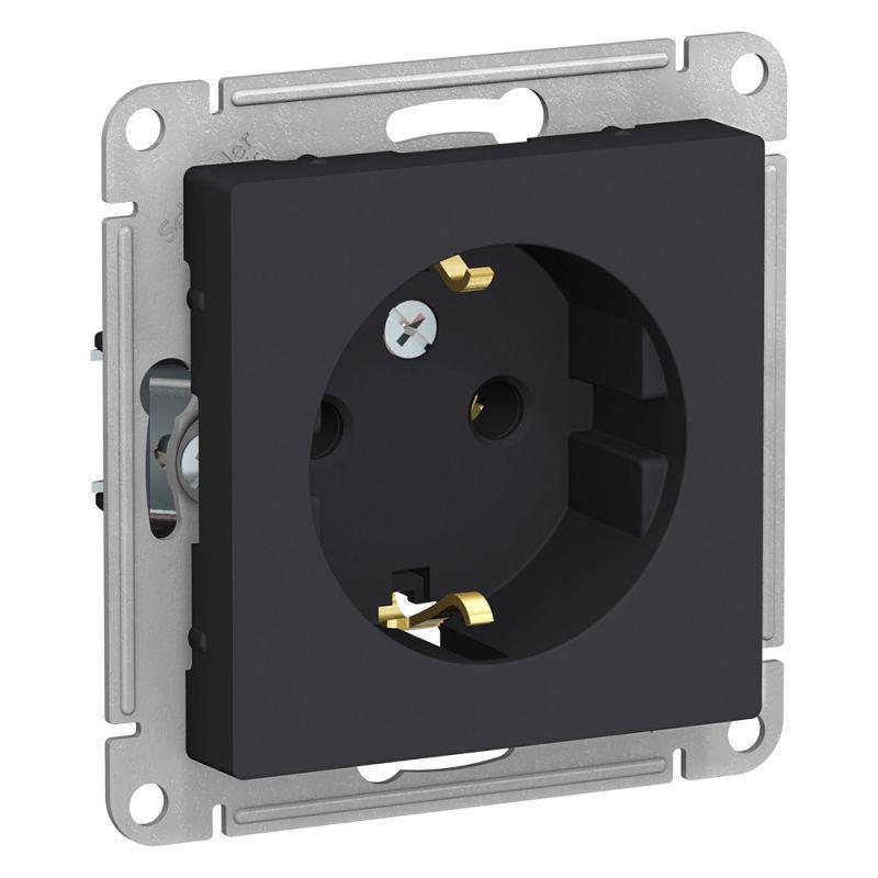 Механизм розетки 1-м СП AtlasDesign 16А IP20 с заземл. карбон SchE ATN001043