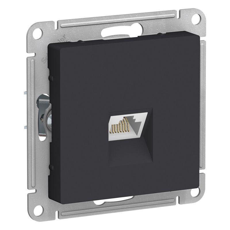 Механизм розетки компьютерной AtlasDesign RJ45 карбон SchE ATN001083