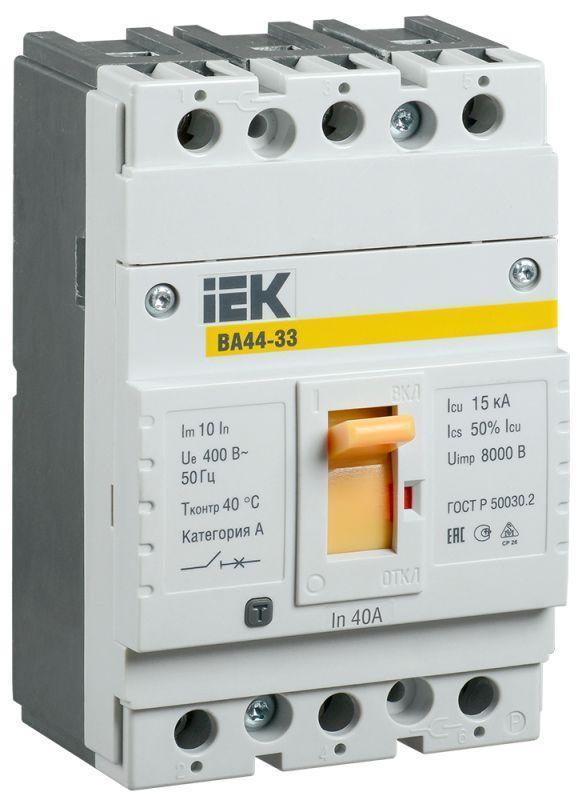 Выключатель автоматический 3п 40А 15кА ВА44 33 IEK SVA4410-3-0040