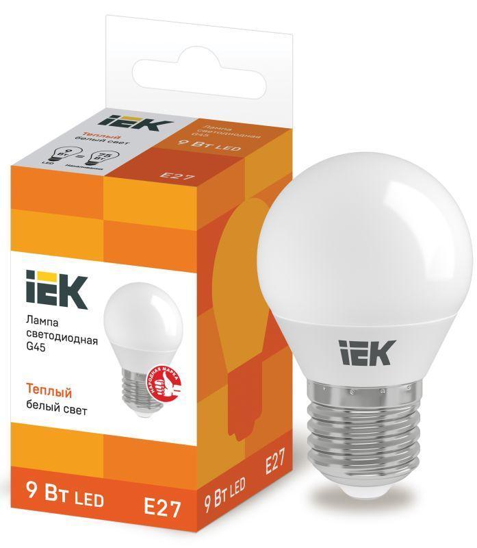 Лампа светодиодная ECO G45 9Вт шар 3000К E27 230В IEK LLE-G45-9-230-30-E27