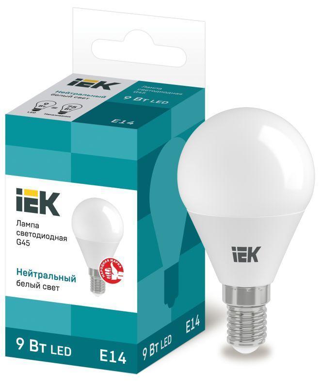 Лампа светодиодная ECO G45 9Вт шар 4000К E14 230В IEK LLE-G45-9-230-40-E14