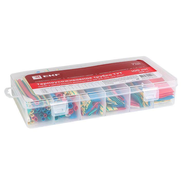 Набор ТУТ бокс: 5 цветов разного диаметра (4/2; 6/3; 8/4; 10/5; 12/6; 20/10) 100мм 105шт PROxima EKF tut-n-5-r