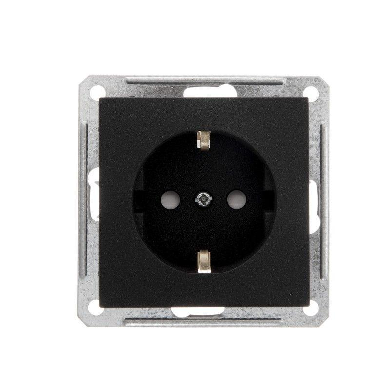 Механизм розетки 1-м СП W59 16А IP20 с заземл. защ. шторки черн. бархат SchE RS16-152-6-86