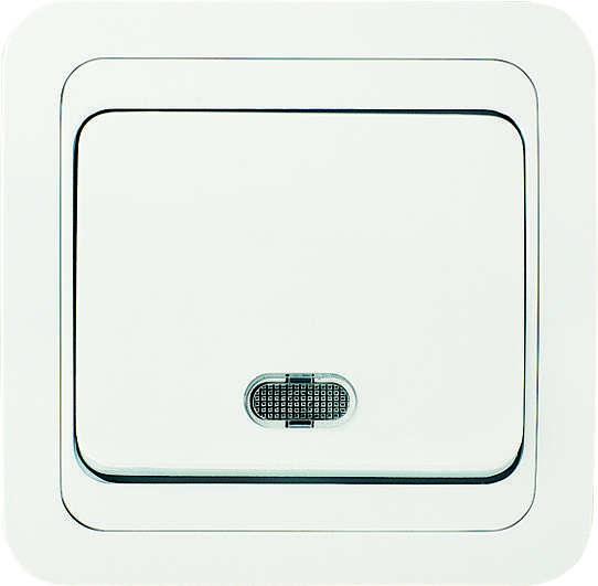 Выключатель 1-кл. СП Mimoza 10А IP20 с подсветкой бел./бел. Makel 12021