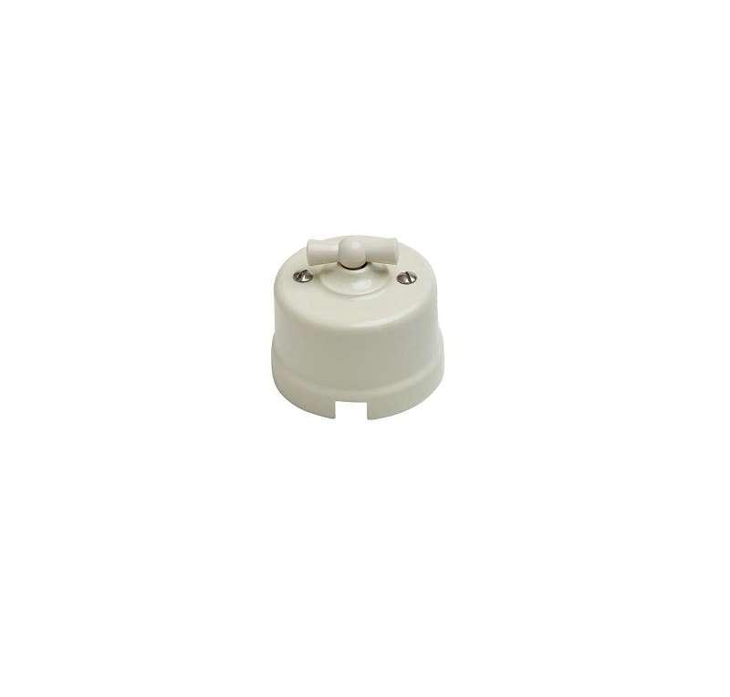 Выключатель проходной поворотный 1-кл. ОП Лизетта 10А IP20 ретро 4 полож. ABS-пластик сл. кость Bironi B1-201-211