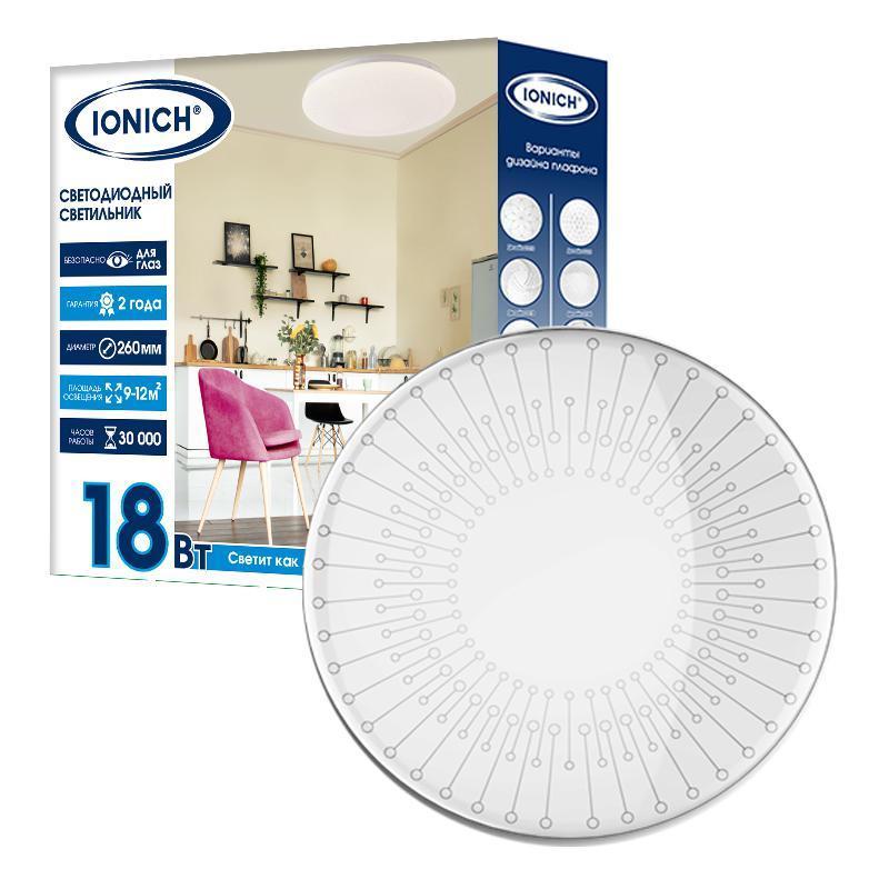 Светильник светодиодный 2160 18Вт 6500К IP20 1260лм d260х55мм бытовой настенно-потолочный IONICH 1703