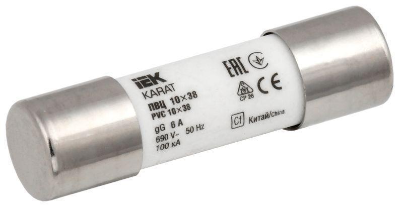 Вставка плавкая цилиндрическая ПВЦ 10х38 6А KARAT IEK MFL10-006