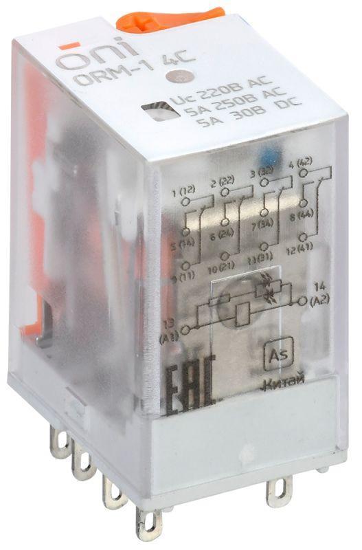 Реле интерфейсное ORM-1 4C 220В AC с LED и тест. кнопкой ONI ORM-1-4C-AC220V-L-B