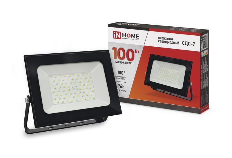 Прожектор светодиодный СДО-7 100Вт 230В 6500К IP65 черн. IN HOME 4690612034652