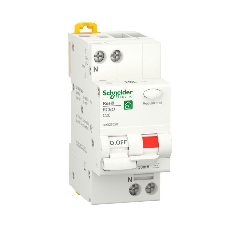 Выключатель автоматический дифференциального тока (ДИФ) RESI9 1P+N С 20А 6000А 30мА тип AC SchE R9D25620