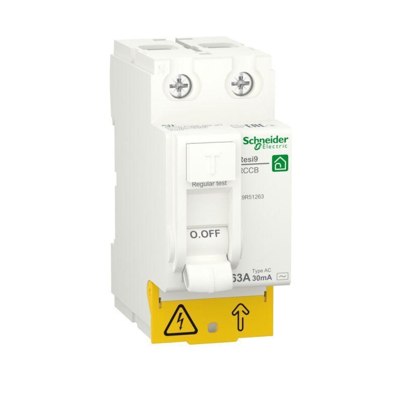 Выключатель дифференциального тока (УЗО) RESI9 63А 2P 30мА тип AC SchE R9R51263