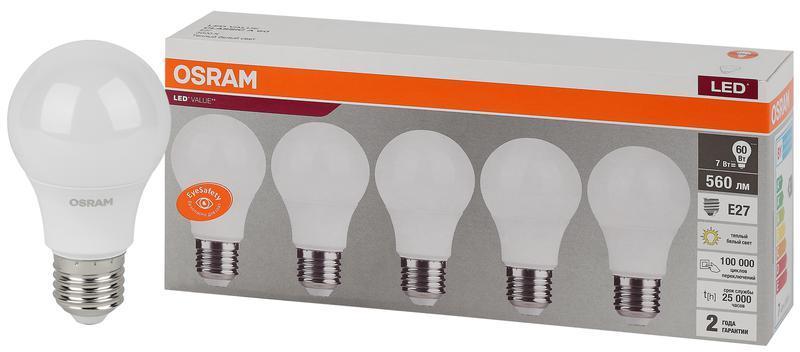 Лампа светодиодная LED Value LVCLA60 7SW/830 230В E27 2х5 RU (уп.5шт) OSRAM 4058075577626