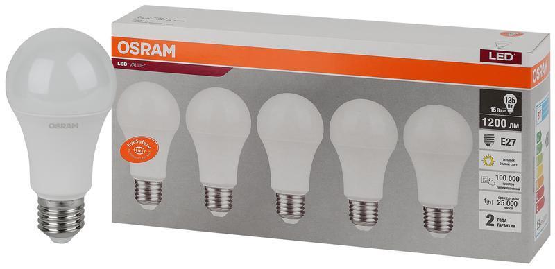 Лампа светодиодная LED Value LVCLA125 15SW/830 230В E27 2х5 RU (уп.5шт) OSRAM 4058075577800