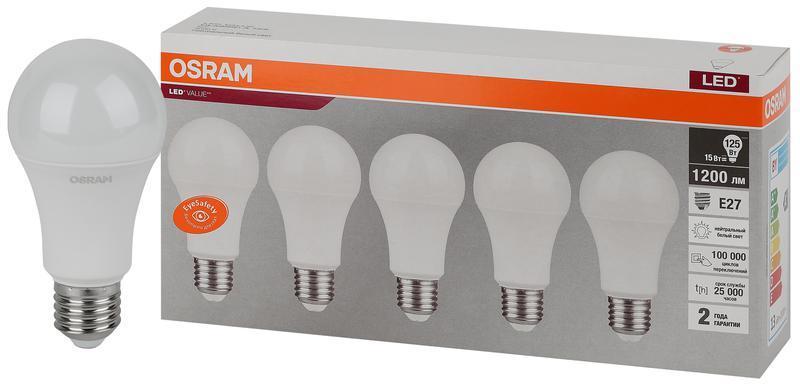 Лампа светодиодная LED Value LVCLA125 15SW/840 230В E27 2х5 RU (уп.5шт) OSRAM 4058075577831