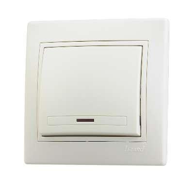 Выключатель 1-кл. СП Мира 10А IP20 с подсветкой со вставкой крем. LEZARD 701-0303-111
