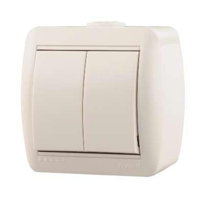 Выключатель 2-кл. ОП Ната 10А IP20 бел. LEZARD 710-0200-101